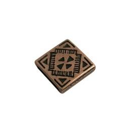 Cuenta DQ Leerschuiver vierkant keltisch 13mm brons kleur.