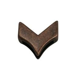Cuenta DQ Metaal leerschuiver 13mm V-vorm brons kleur.