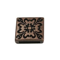 Cuenta DQ Metaal leerschuiver 13mm Bloem 4kant brons kleur.