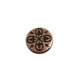 Cuenta DQ slider bead 13mm round clover copper plating.