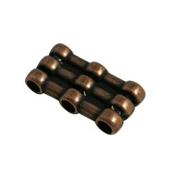 Cuenta DQ slider bead 3xhole copper plating.