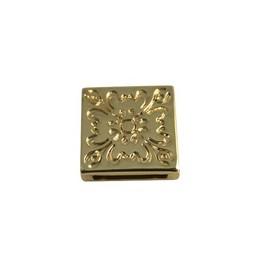 Cuenta DQ Metaal leerschuiver 13mm Bloem vierkant Goud
