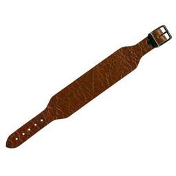 Cuenta DQ bracelet strap leather buckle crackle brown 30mm