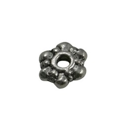 Cuenta DQ bali ring spacer ring bloem 8mm platin zilverkleur