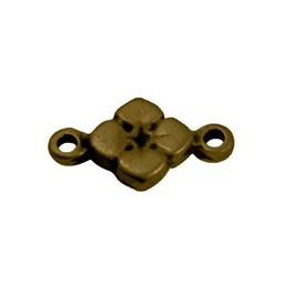 Cuenta DQ 2 eye flower charm 11mm antique gold