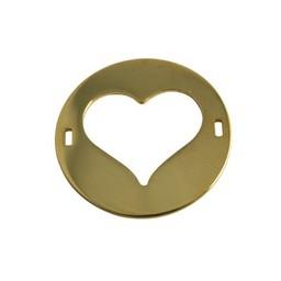 Cuenta DQ Schmuckverbinder Charm 2 osen Platte Herz 29mm Goldfarbe
