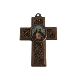 Cuenta DQ jewelry pendant cross with image 40x27mm antique copper metal