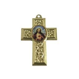 Cuenta DQ sieraden hanger kruis met afbeelding 40x27mm goudkleurig metaal
