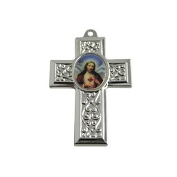 Cuenta DQ jewelry pendant cross with image 40x27mm silver plated metal