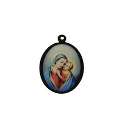Cuenta DQ sieraden hanger medaillon met afbeelding ovaal 21mm zwart
