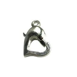 Cuenta DQ lobster clasp silver plated hearts shape