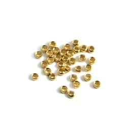 Cuenta DQ crimp bead No. 2 verguldonker 2.4mm