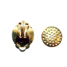 Cuenta DQ Strain ear clip 15mm gold color p20 pcs