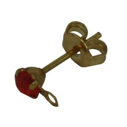 Cuenta DQ oorsteker met steentje en oogje 3mm koi oranje goudkleur
