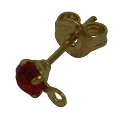 Cuenta DQ Ohrstecker mit strass 3mm rot Goldfarbe