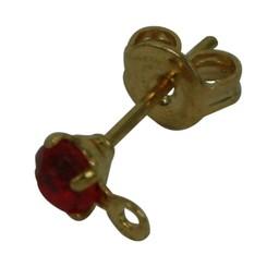 Cuenta DQ oorsteker met steentje en oogje 3mm rood goudkleur