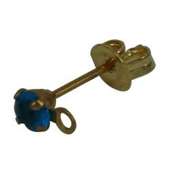 Cuenta DQ oorsteker met steentje en oogje 3mm turquoise goudkleur