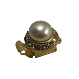 Cuenta DQ closing one eye with pearl and rhinestone gold