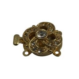 Cuenta DQ 16mm gold plated rhinestone buckle 2 eyes