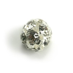 Cuenta DQ strassbol 10mm silver plated