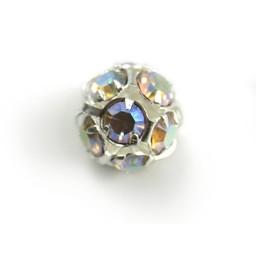 Cuenta DQ Runde Metallperle mit Glitzersteinen 14mm AB coating versilbert