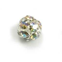 Preciosa crystals Runde Metallperle mit Glitzersteinen 8mm AB coating versilbert