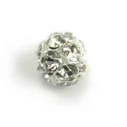 Preciosa crystals Runde Metallperle mit Glitzersteinen 8mm versilbert