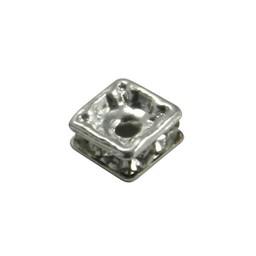Cuenta DQ Strassr?der-rondel mit Glitzersteinen 4,5x4,5mm vierkant versilbert