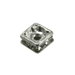 Preciosa crystals rhinestone bead 4,5mm square silver plated