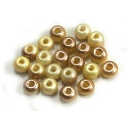 Cuenta DQ Czech glass bead pastel yellow champagne rose