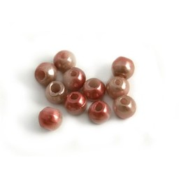 Cuenta DQ Glaskralen Tsjechie ronde kraal roze metalic 5mm