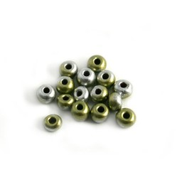 Cuenta DQ Czech glass bead gold-silver