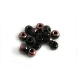 Cuenta DQ Tschechische Glasperlen rocailles schwarz pink metallic