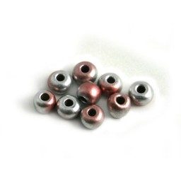 Cuenta DQ Czech glass bead pastel pink silver