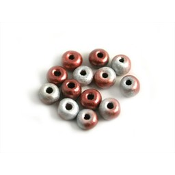 Cuenta DQ Czech glass bead pastel pink grey