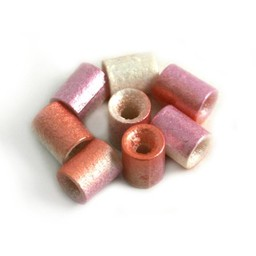 Cuenta DQ Czech glass bead tube pastel lilac metallic