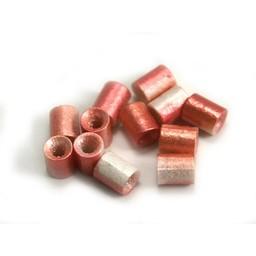 Cuenta DQ Czech glass bead tube pastel pink white metallic
