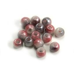 Cuenta DQ Glaskralen Tsjechie ronde kraal roze wit grijs metalic