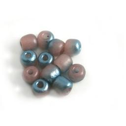 Cuenta DQ Tschechische Glasperlen rocailles Pastellfarben pink mint metallic coating