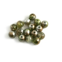 Cuenta DQ Czech glass bead lime rosegold