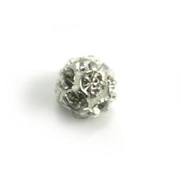 Cuenta DQ Runde Metallperle mit Glitzersteinen 6mm versilbert