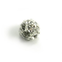 Cuenta DQ strass ball 6mm silver plated