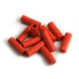 Cuenta DQ 4x12mm houten kraal pijpje rood