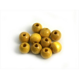 Cuenta DQ 6mm runde gelbe Holzperle