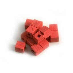 Cuenta DQ 4x4mm houten kraal vierkant roze