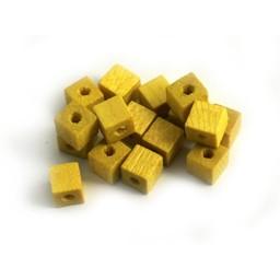 Cuenta DQ 4x4mm houten kraal vierkant geel