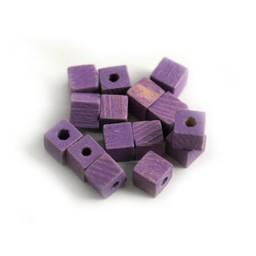 Cuenta DQ 4x4mm houten kraal vierkant pastel paars