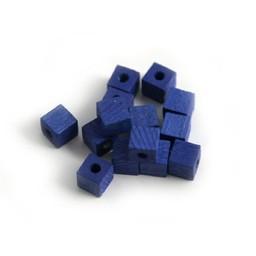 Cuenta DQ 4x4mm quadratischen blauen Holzperle