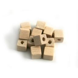 Cuenta DQ 5x5mm houten kraal vierkant naturel-blank