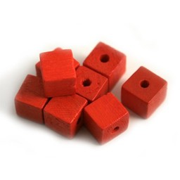 Cuenta DQ 8x8 wooden bead square red